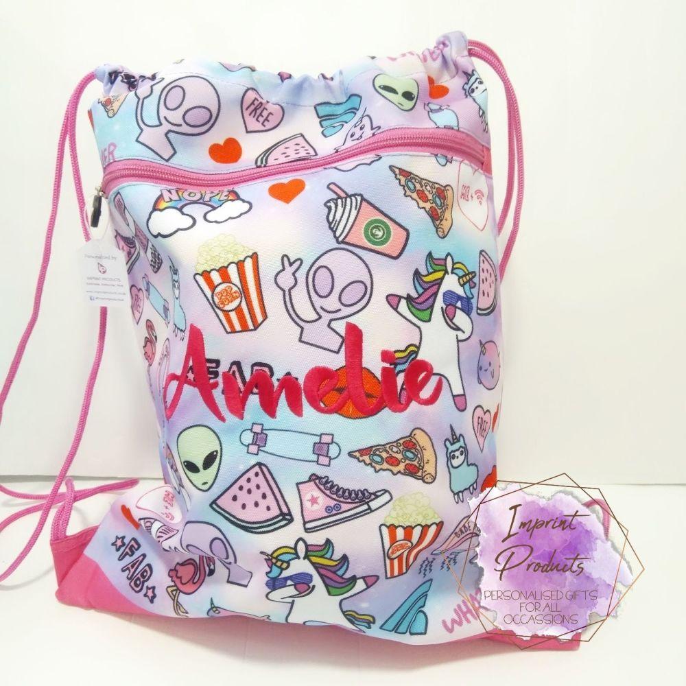 Personalised Pink Doodle Girly PE Swim Drawstring Bag