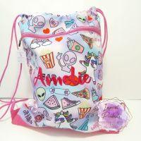 Personalised Pink Doodle Drawstring Bag