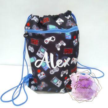 Personalised Gamer Drawstring Bag