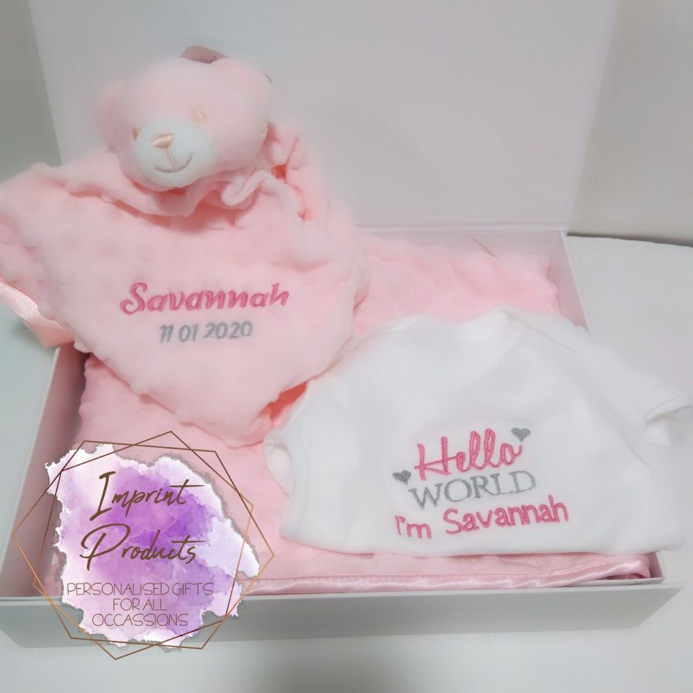 Personalised Baby Gift Hamper Set - Pink/Blue/Neutral