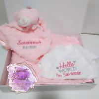 Personalised Baby Gift Hamper Set - Pink/Blue/Neutral