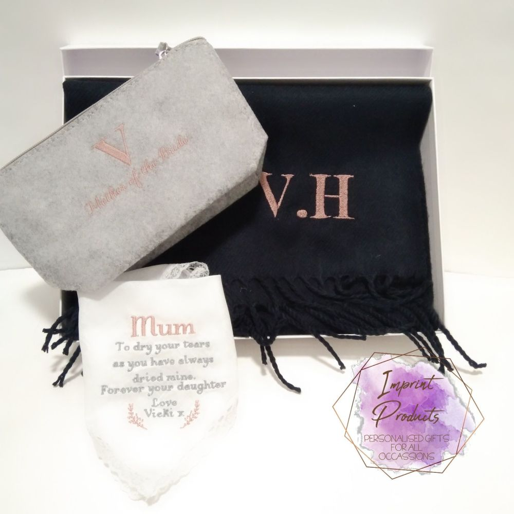 Mother of the Bride Gift Box - Scarf, Handkerchief, Cosmetics Bag  Mother o