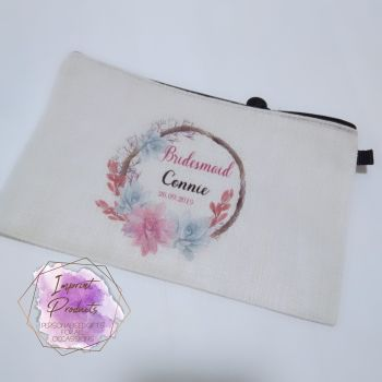 Bridal Party Floral Wreath Make up Cosmetics Bag