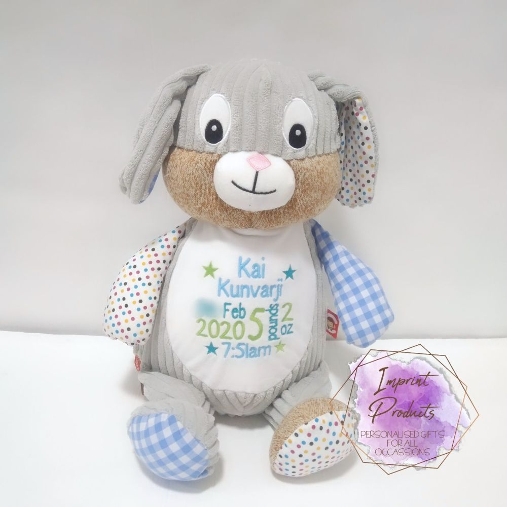 Personalised Blue Cubbies Harlequin Bunny | New Baby Boy Gift | Welcome to