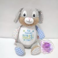 Personalised Blue Cubbies Harlequin Bunny