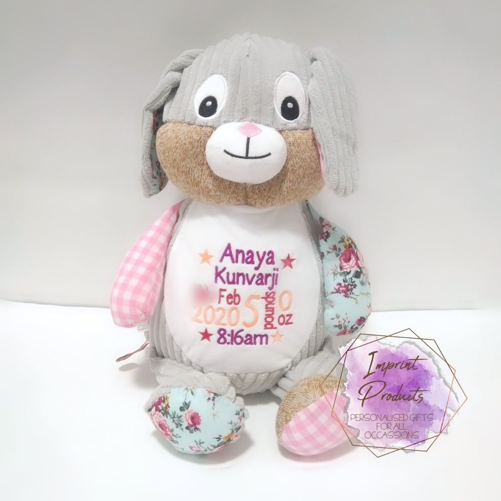 Personalised Pink Cubbies Harlequin Bunny | Baby Girl Gift | Baby Keepsake