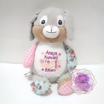 Personalised Pink Cubbies Harlequin Bunny