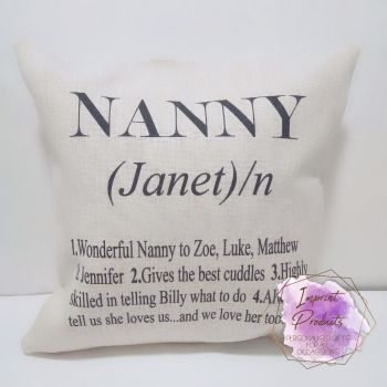 Personalised Nanny Definition Linen Style Cushion