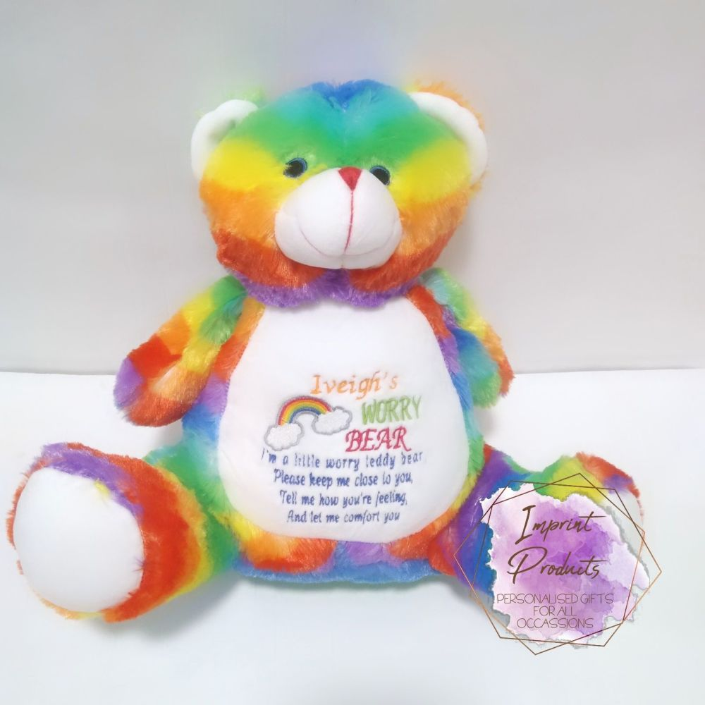 Rainbow Worry Bear | Anxiety Teddy | Personalised Worry Bear