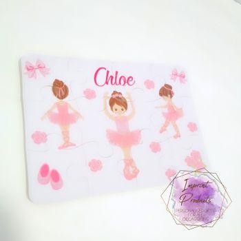 Personalised Ballerina themed jigsaw - 12 or 63 piece