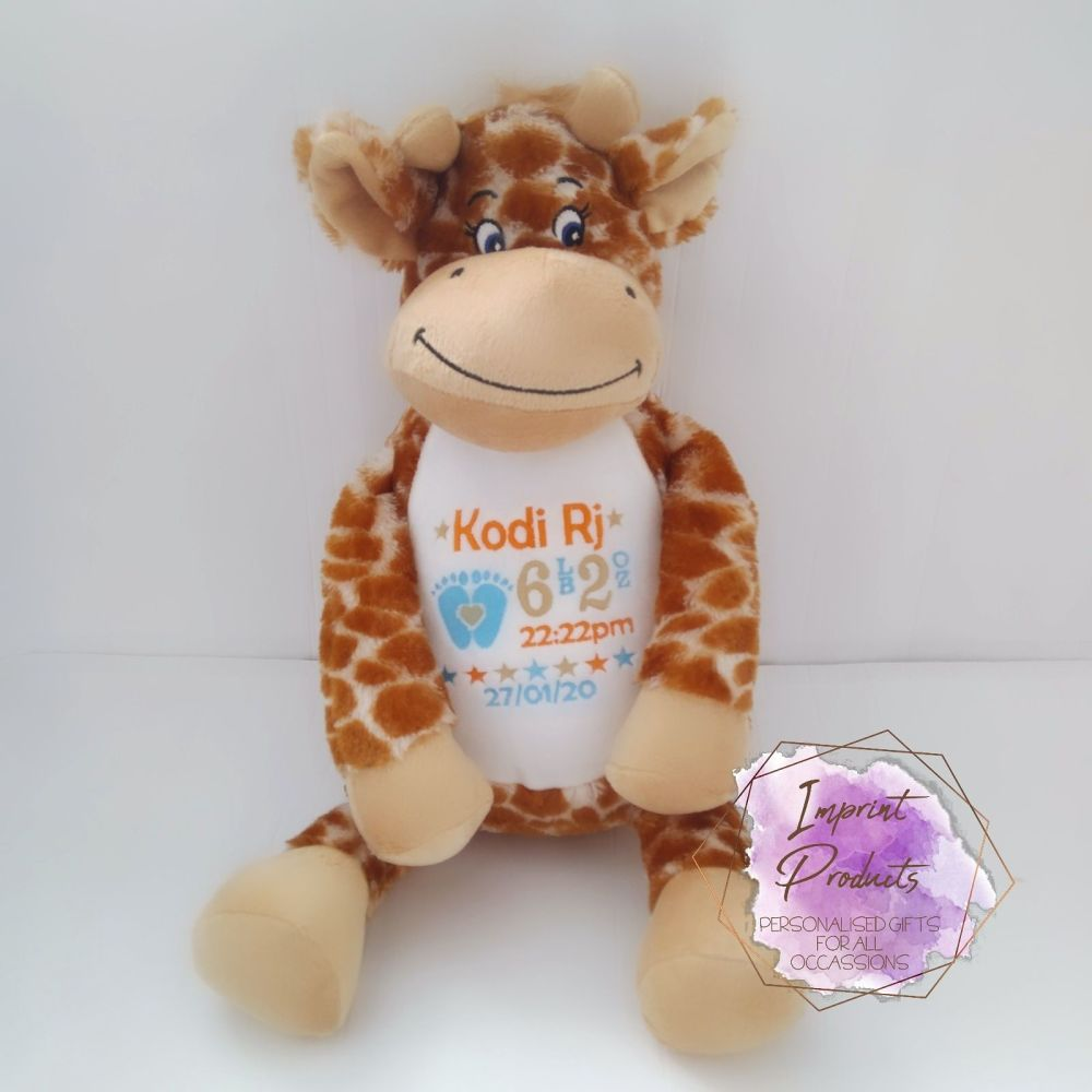 Personalised Giraffe Teddy Soft Toy