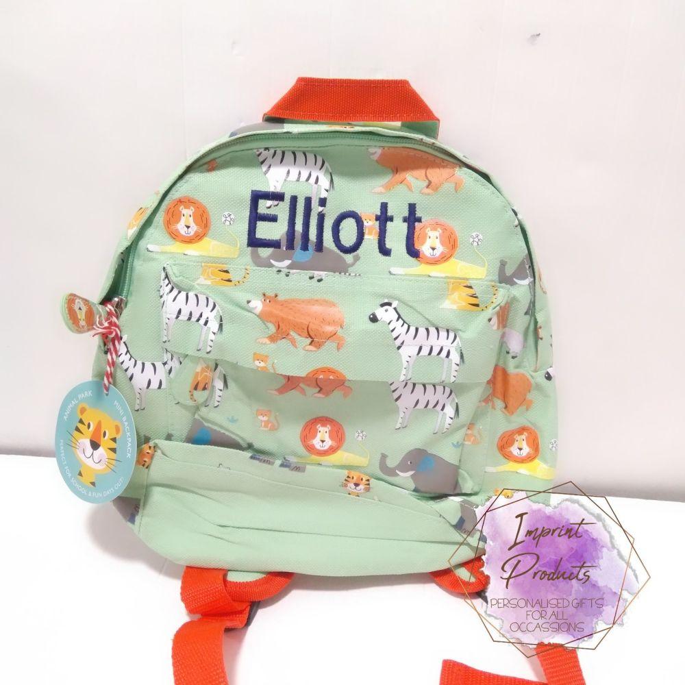 Personalised Child's Mini Animal Park themed Backpack | Nursery Bag | Nurse