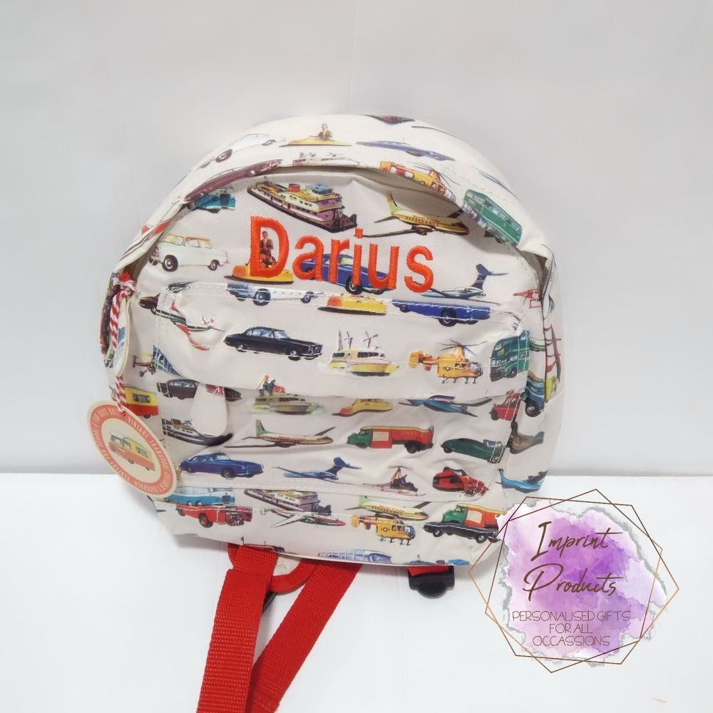 Personalised Child's Mini Vintage Transport Backpack  | Boys Toddler Backpa