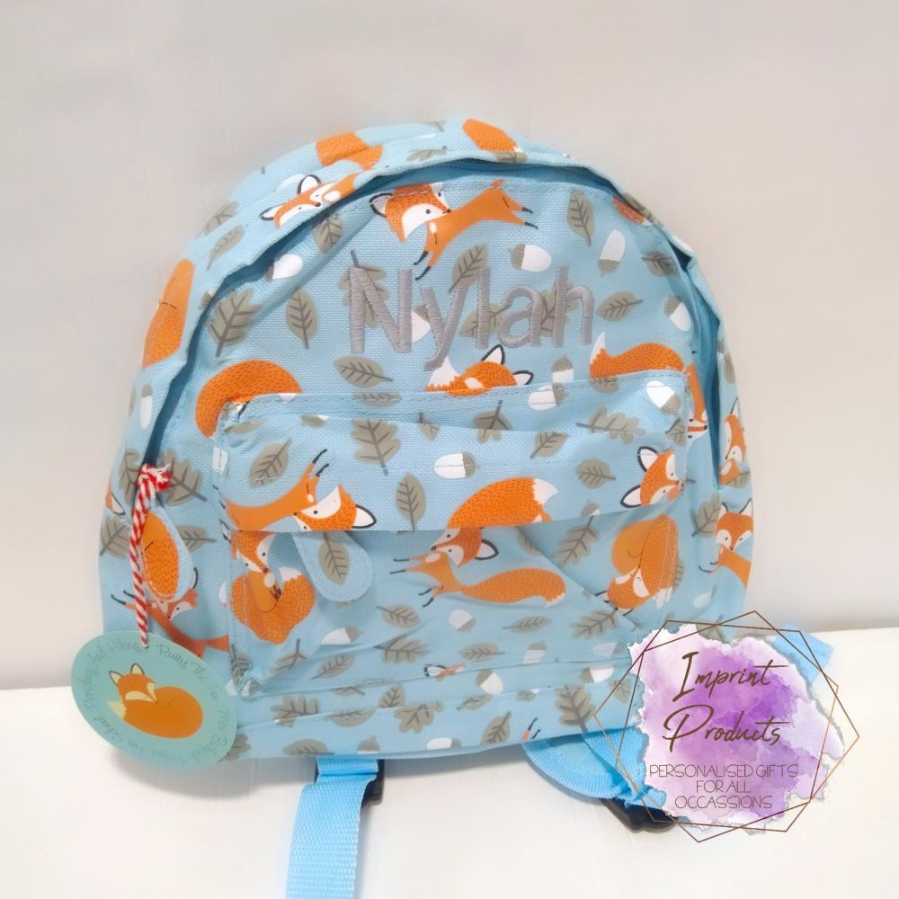 Toddler Fox Backpack | Embroidered Nursery Backpack | Toddler Bag | Fox Bac