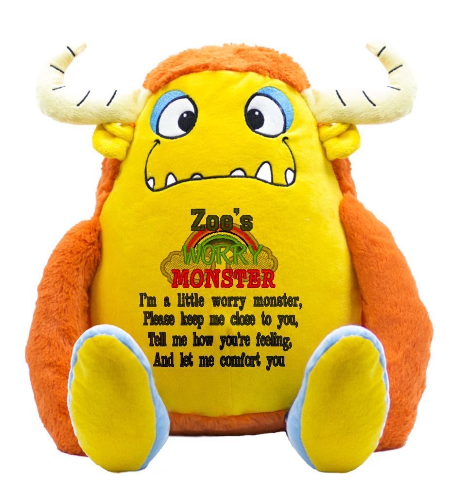 Yellow Worry Monster Anxiety Toy | Worry Teddy | Stress Teddy