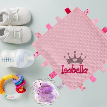 Personalised Tag Baby Comforter - Crown Design (pink and blue available)