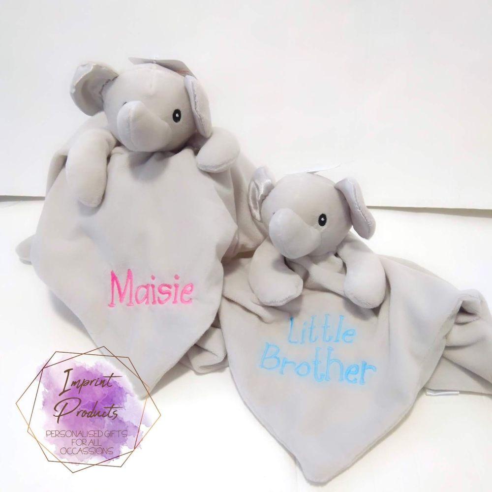 Personalised Grey Elephant Baby Comforter