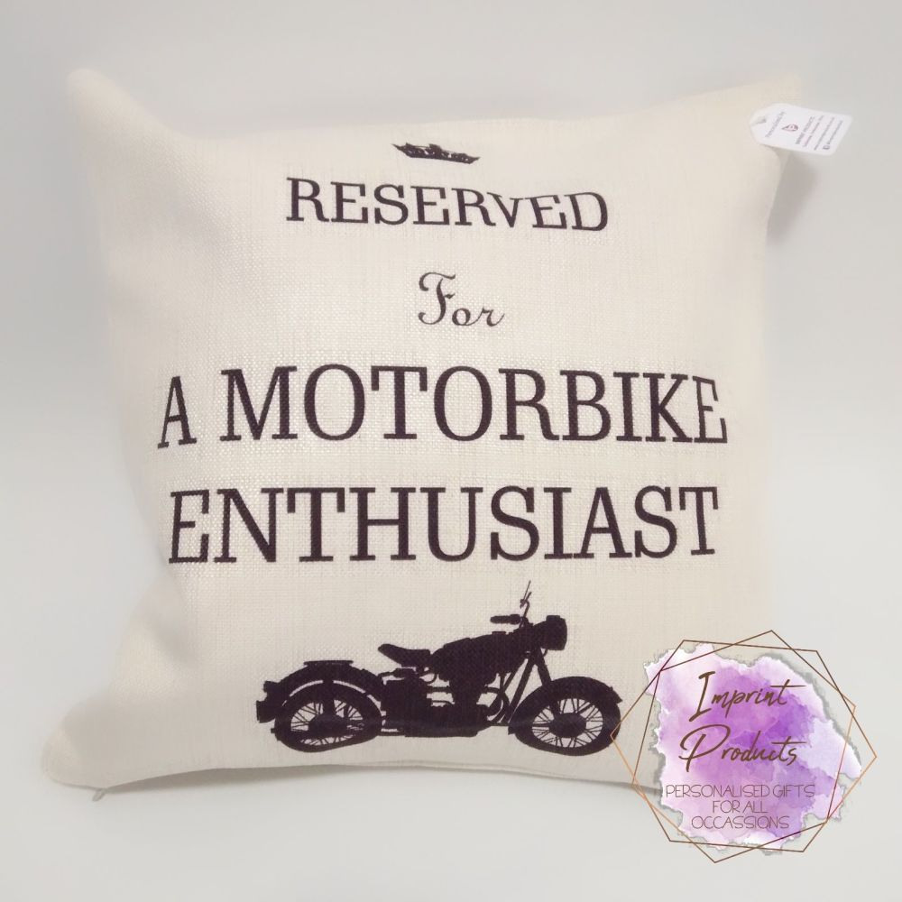Reserved for a Motorbike Enthusiast Linen Cushion