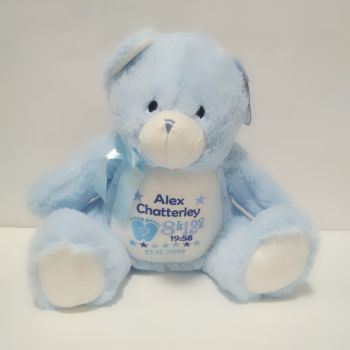 Personalised Blue Teddy Soft Toy - Any text or design