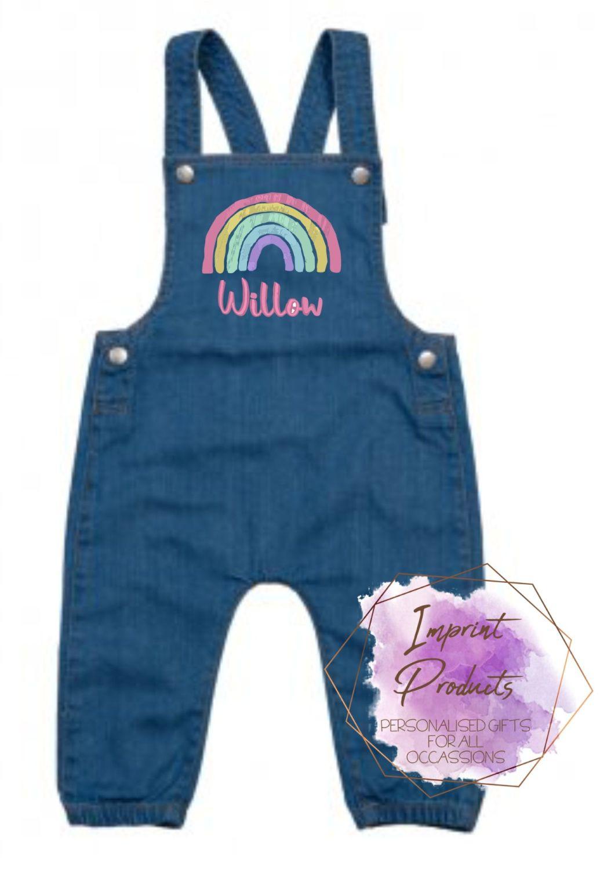 Personalised Rainbow Denim Dungarees | Child's First Dungarees | Rainbow pe