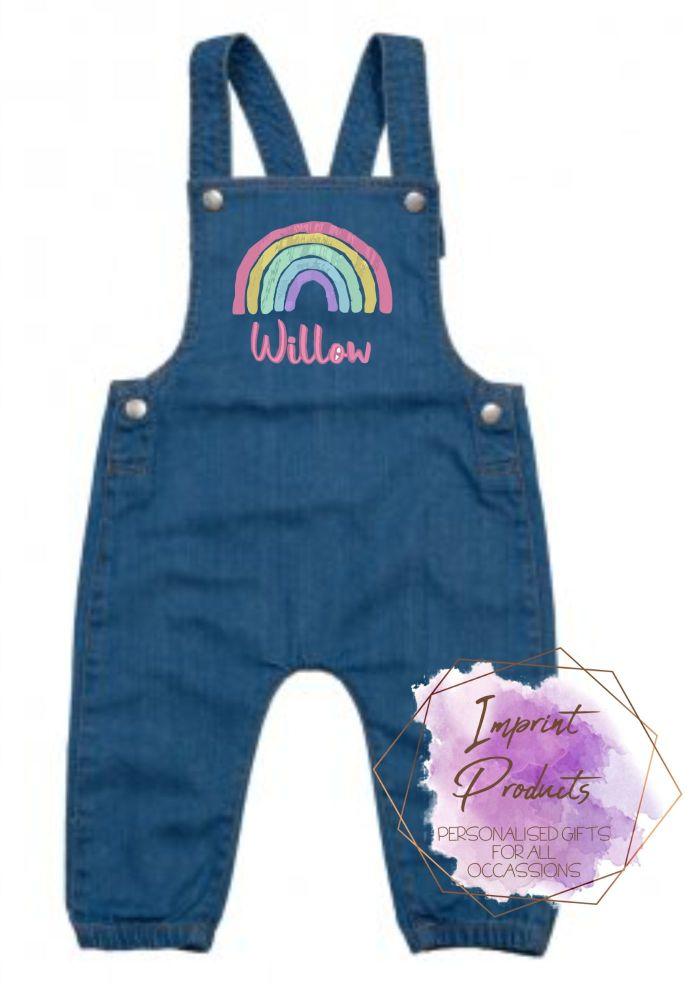 Personalised Rainbow Denim Dungarees
