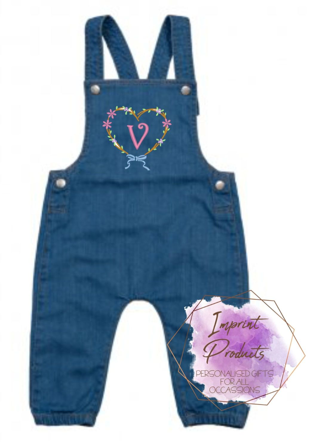 Personalised Heart Denim Dungarees | Baby Girl Dungarees