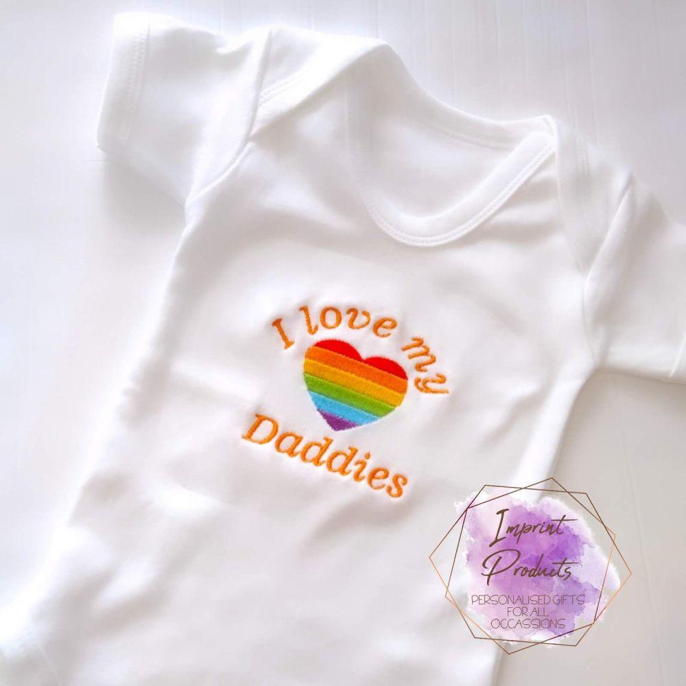 I Love My Daddies Baby Vest | Two Daddies LGBT Gay Pride Baby Vest