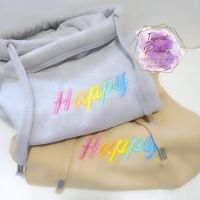 Happy Embroidered Cowl Neck Hoodie