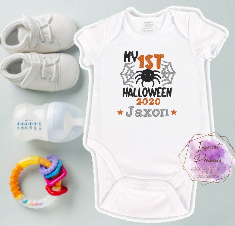 Babies First Halloween Personalised Baby Vest