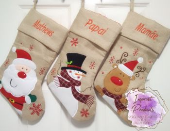 Luxury Personalised Hessian Style Christmas Stockings