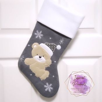 Personalised Grey Teddy Bear Christmas Stocking