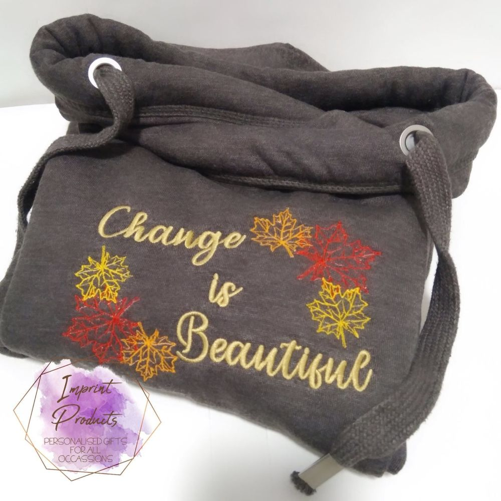 Autumn Cowl Neck Hoodie - Change is Beautiful