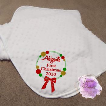 First Christmas Baby Bubble Blanket - Wreath Design