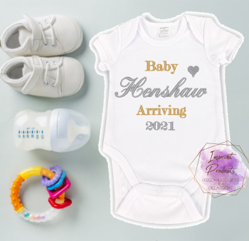 Baby Arriving 2021 Pregnancy Announcement Baby Vest