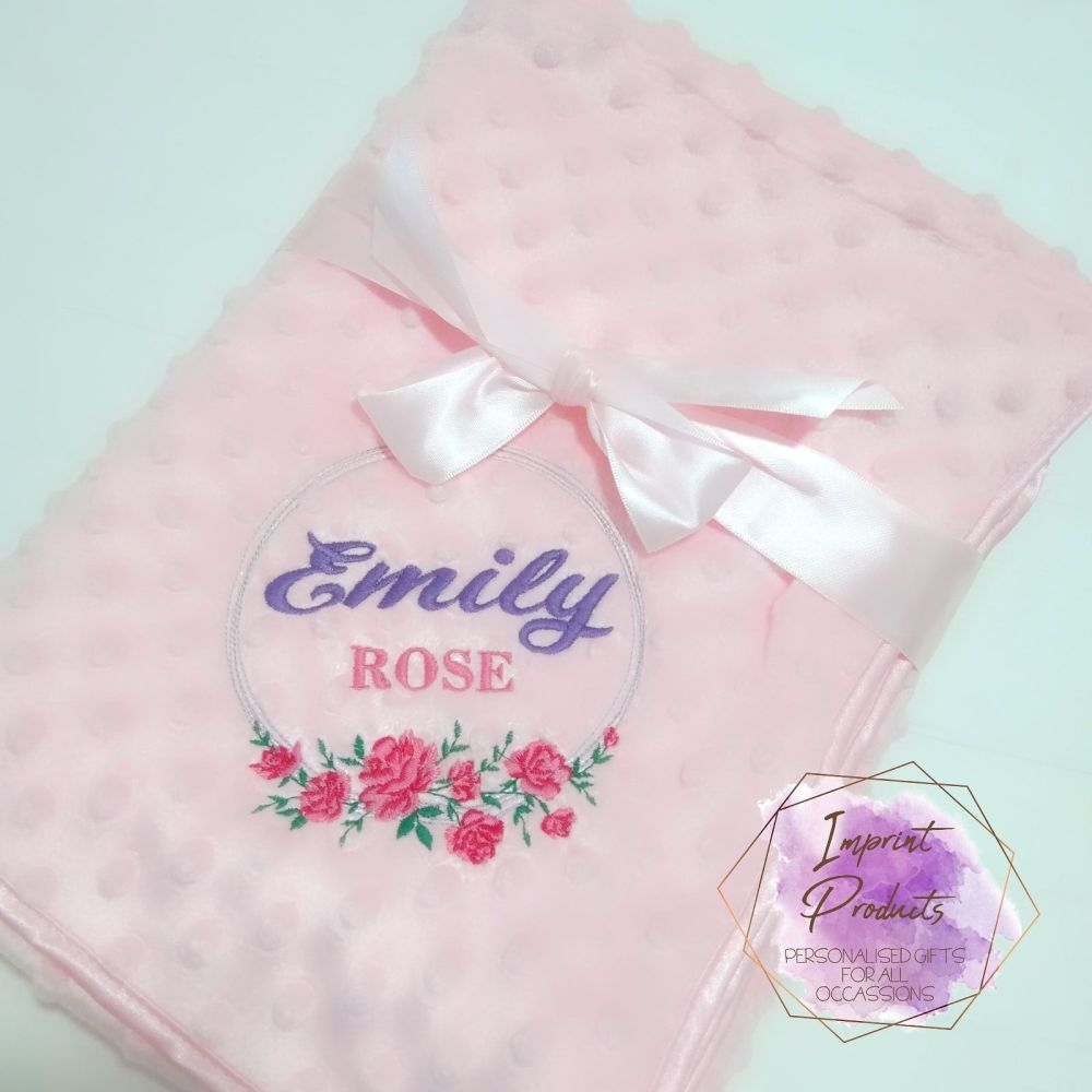 Personalised Floral Wreath Baby Bubble Blanket (pink, blue, Grey or White)