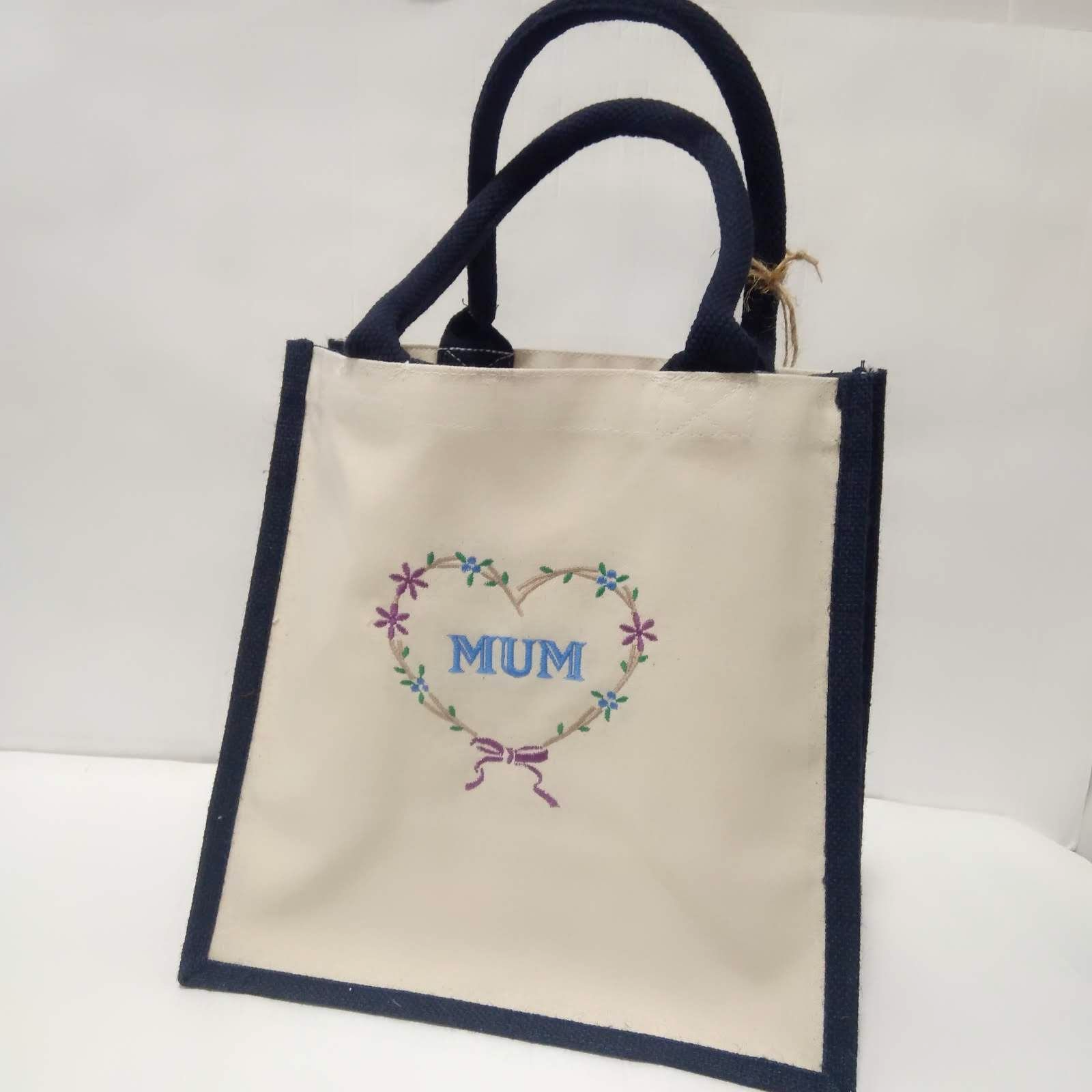 Personalised Jute Shopping Bag | Embroidered  Shopper Bag