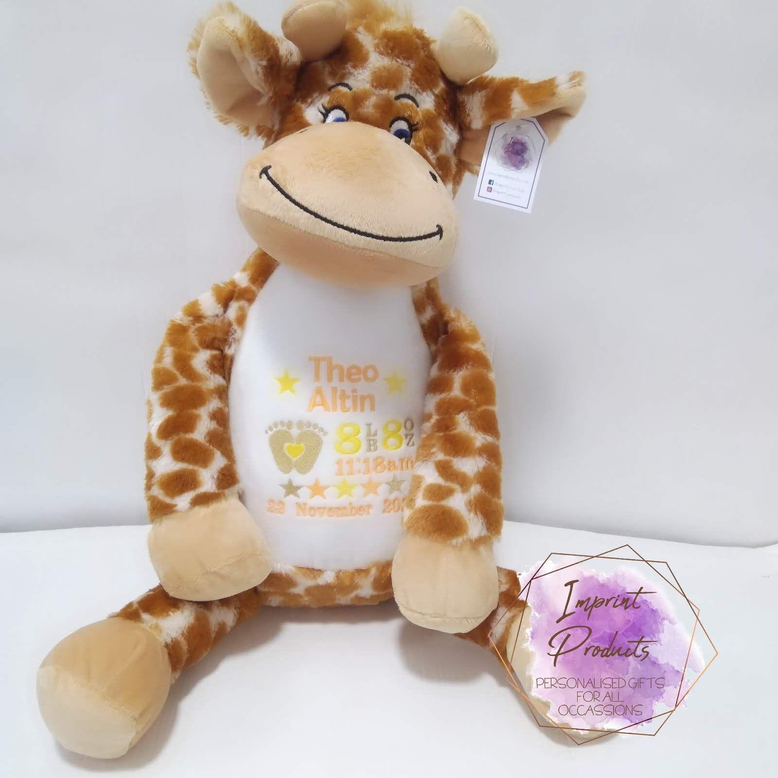 Personalised Giraffe Teddy Bear | Unisex baby Gift | New baby keepsake