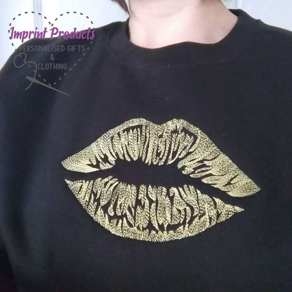 Lips Embroidered Sweatshirt or Cowl Hoodie
