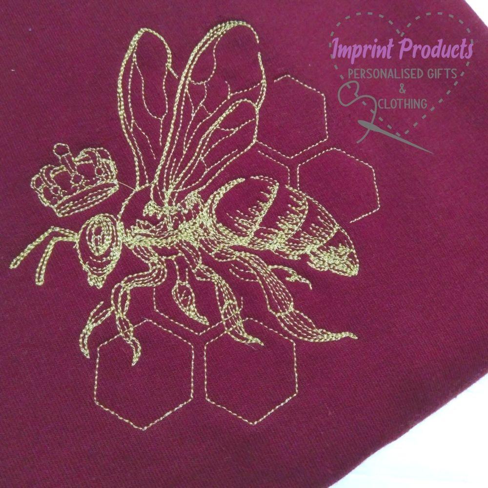 Queen Bee Embroidered Sweatshirt or Cowl Hoodie