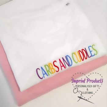 Carbs and Cuddles Embroidered T-Shirt