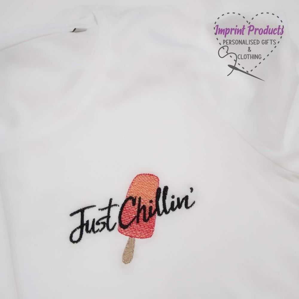 Just Chillin' Ice Lolly Embroidered T-Shirt