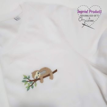 Sloth Embroidered T-Shirt