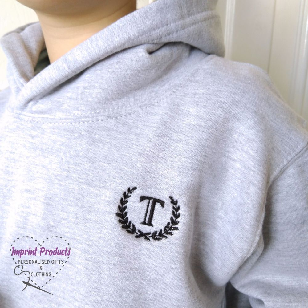 Childs Initial Monogram Embroidered Hoodie