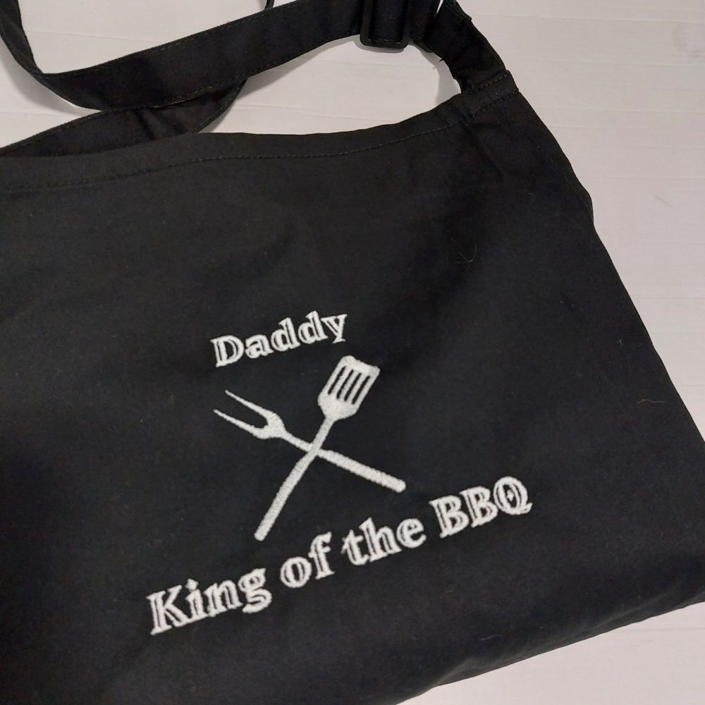 Daddy King Of The BBQ Embroidered Apron
