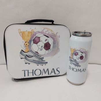 Personalised Football Lunch Bag Water Bottle School Set