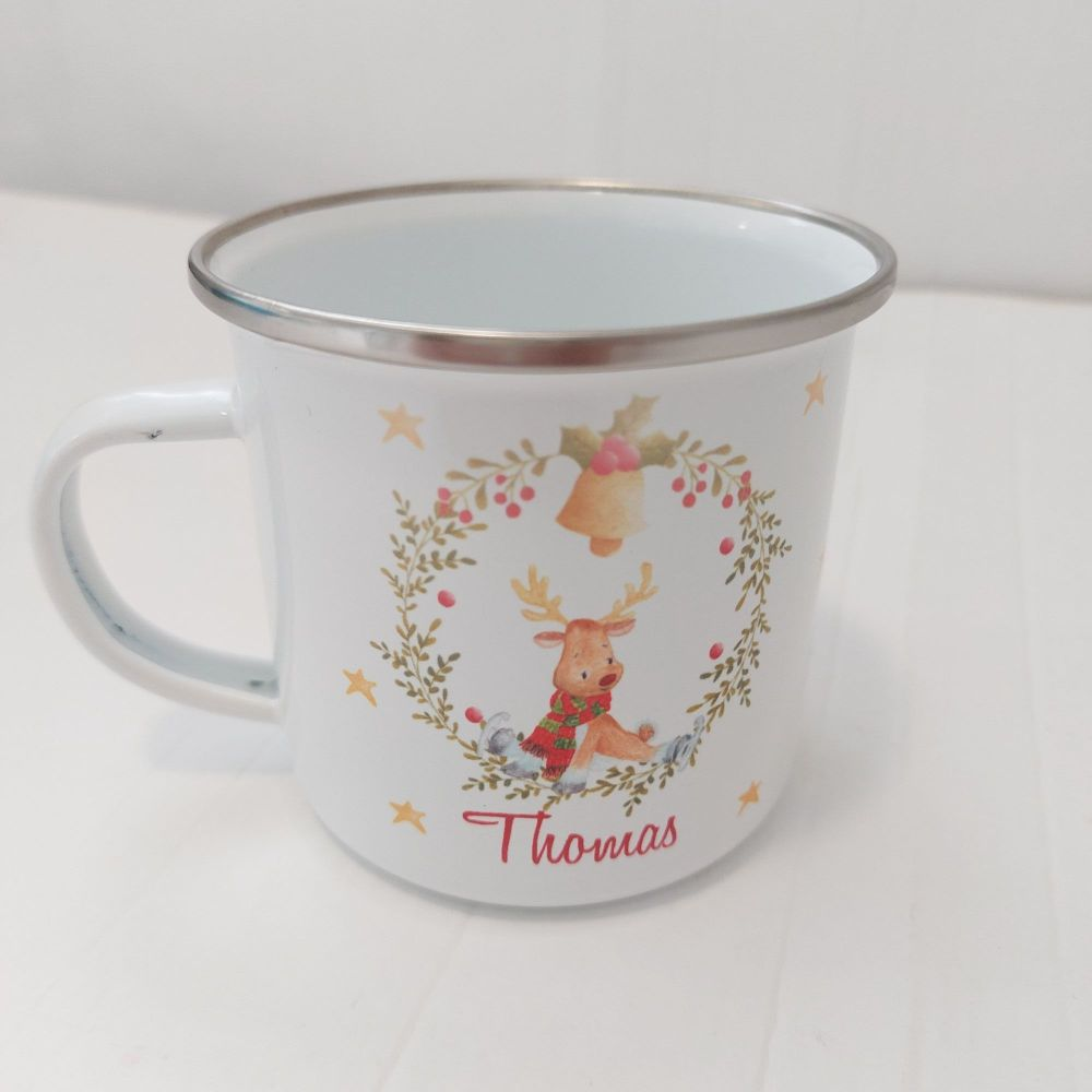 Enamel Christmas Deer Mug