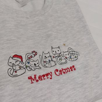 Merry Catmas Embroidered Sweatshirt