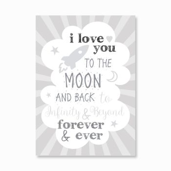 I love you to the moon and back stripes print