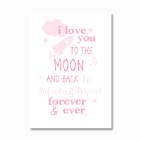 I love you to the moon and back pink print