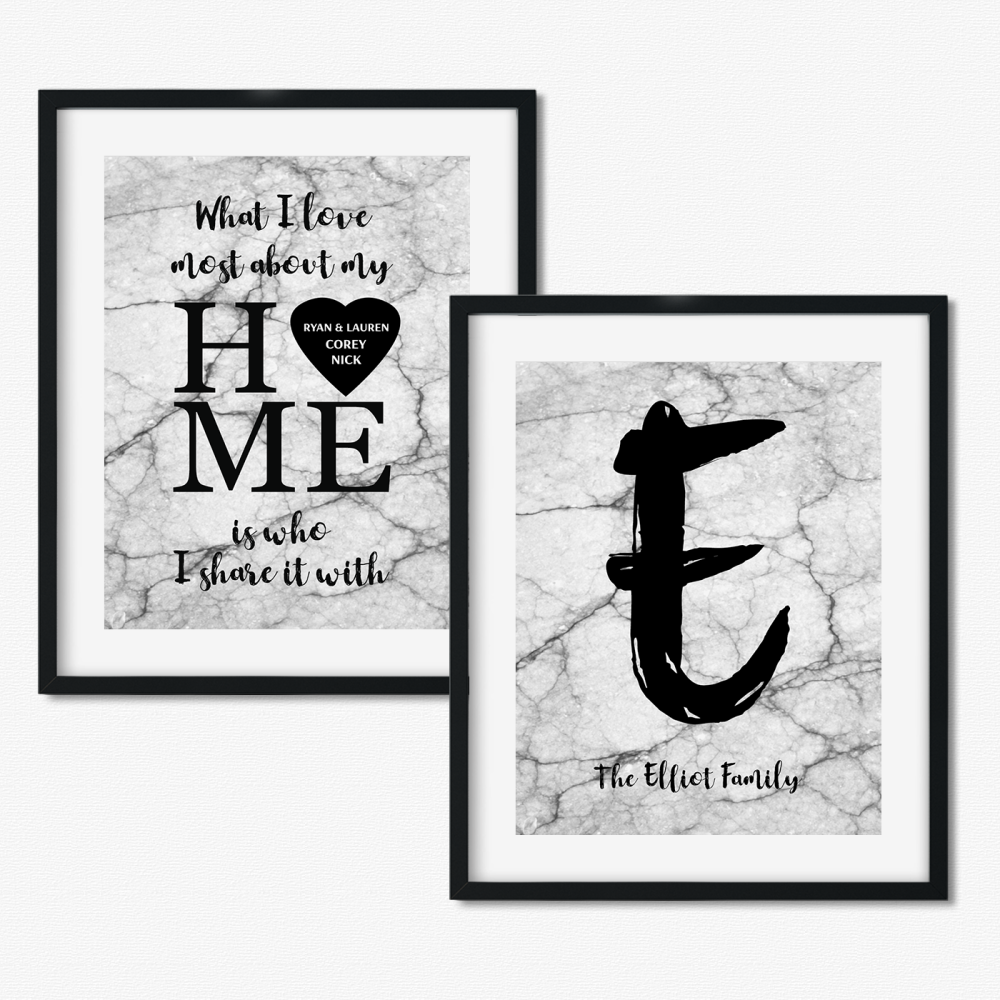 Set of 2 Marble Family prints - What I love most about my home